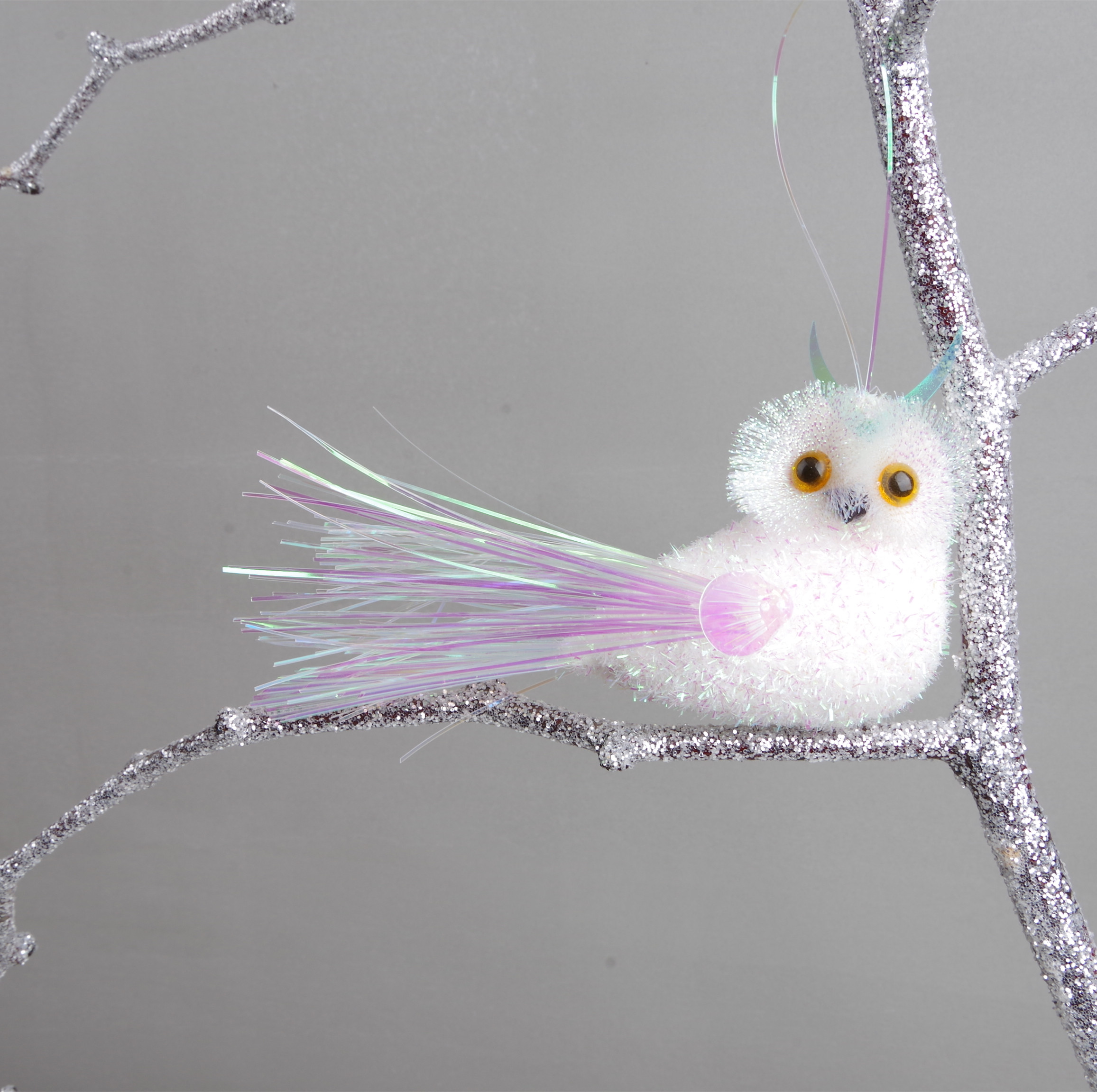 Hanging owl ornament, artificial owl for Christmas tree decorations.