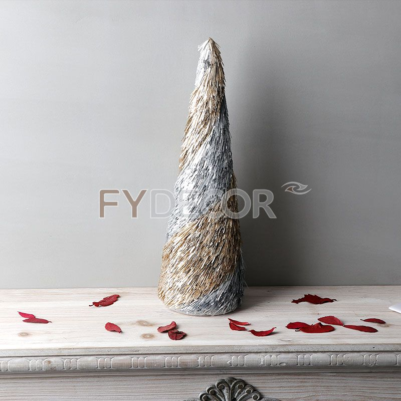 Christmas Cone Tree Desk Top Decoretive Mini Trees With Glittring Champagne and Silve By Handmade
