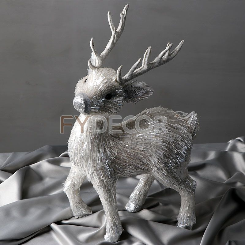 Christmas Deer White Silver Handmade Reindeer Craft Rein Deer Decaration