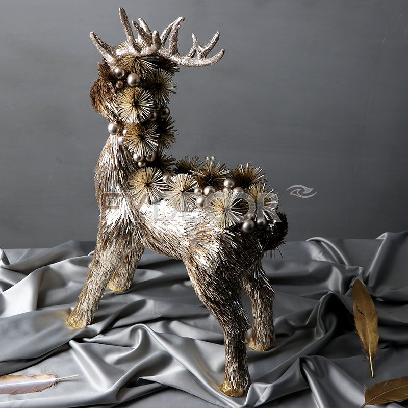 Handmade Reindeer Shiny Christmas Decorative Rein Deer Glitter Caribou Handicrafts