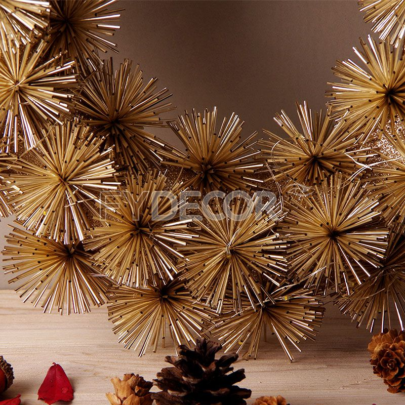 Wholesale Christmas Wreath, Centerpiece, Best Elegant Holiday Wreath, Front Door Decor, Gold Pom Pom Wreath