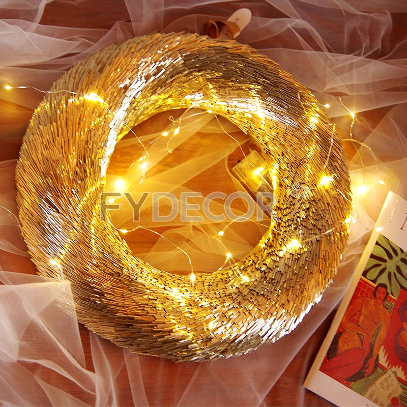 15 Iinches Holiday Wreath for Home Decor, Gold Glittering Wreath for Christmas decoration