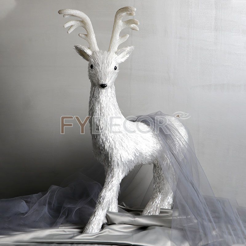 Handicraft White Silver Reindeer Bulk Hight Quality Christmas Decoration