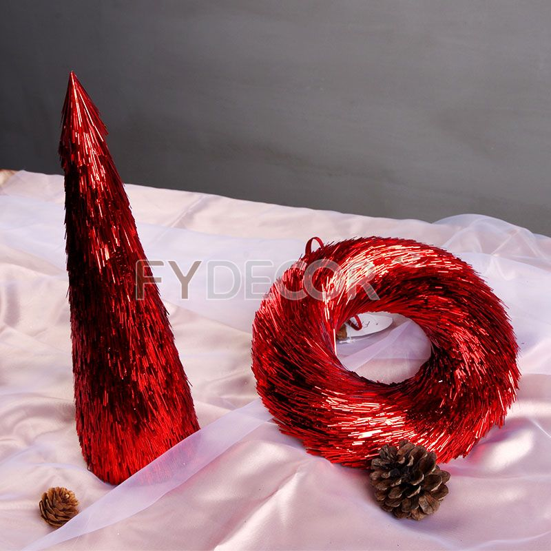 Tabletop decorative tree with glittering red