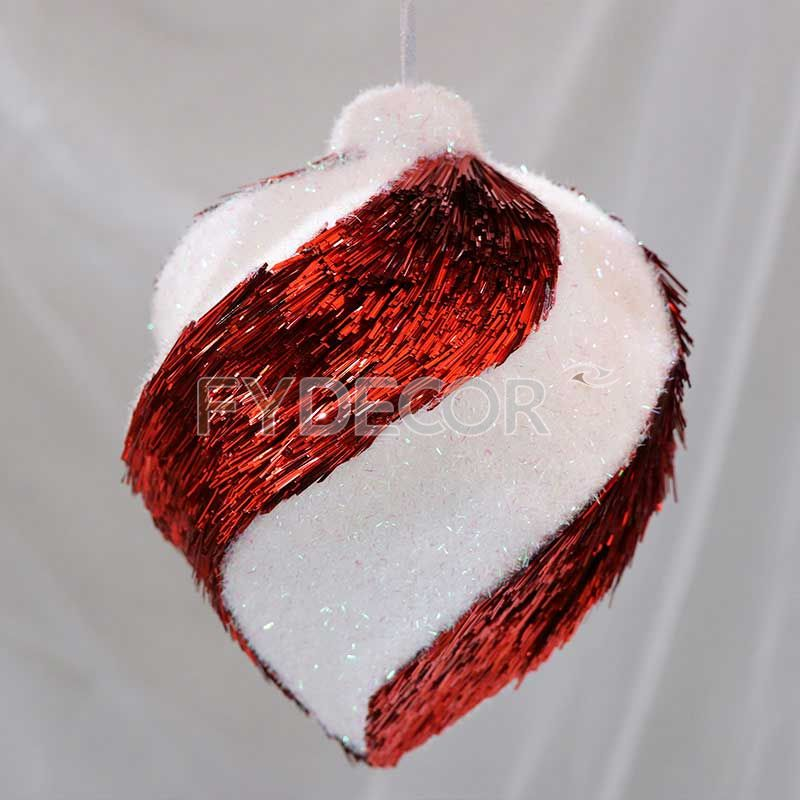 PET glittering red and white ornament hanging ornament Handicrafts vintage gifts