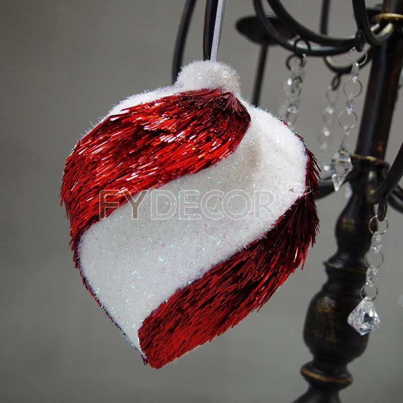 PET glittering red and white ornament hanging ornament Handicrafts vintage gift
