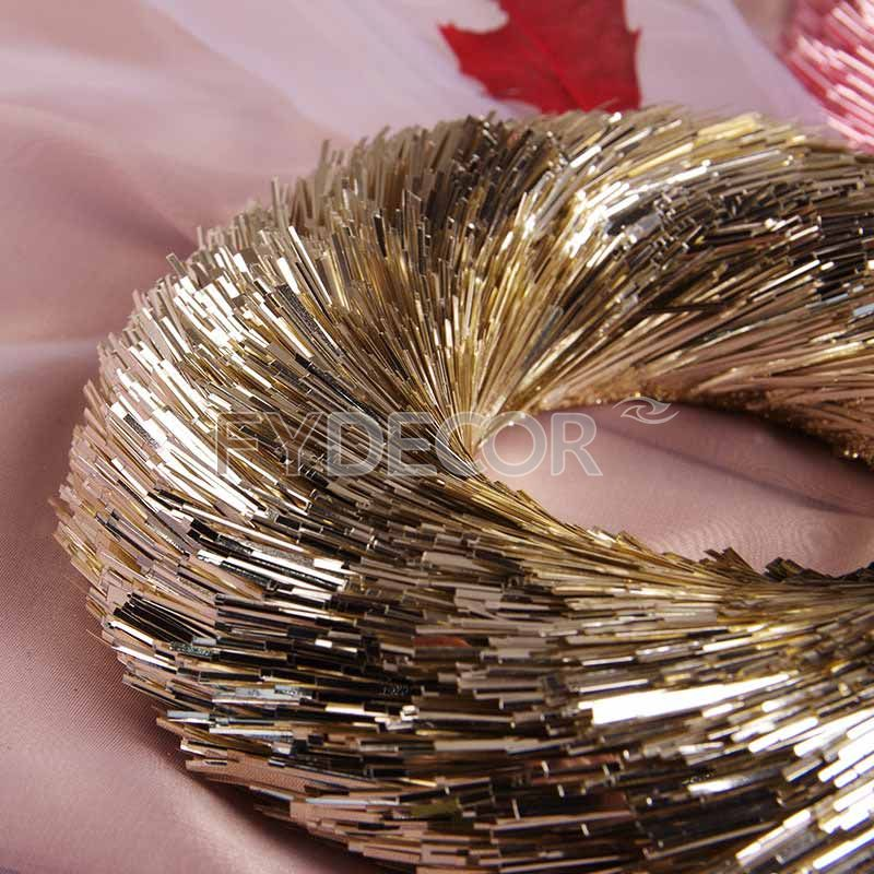 Round wreath handicrafts hanging ornament with glittering champagne gold