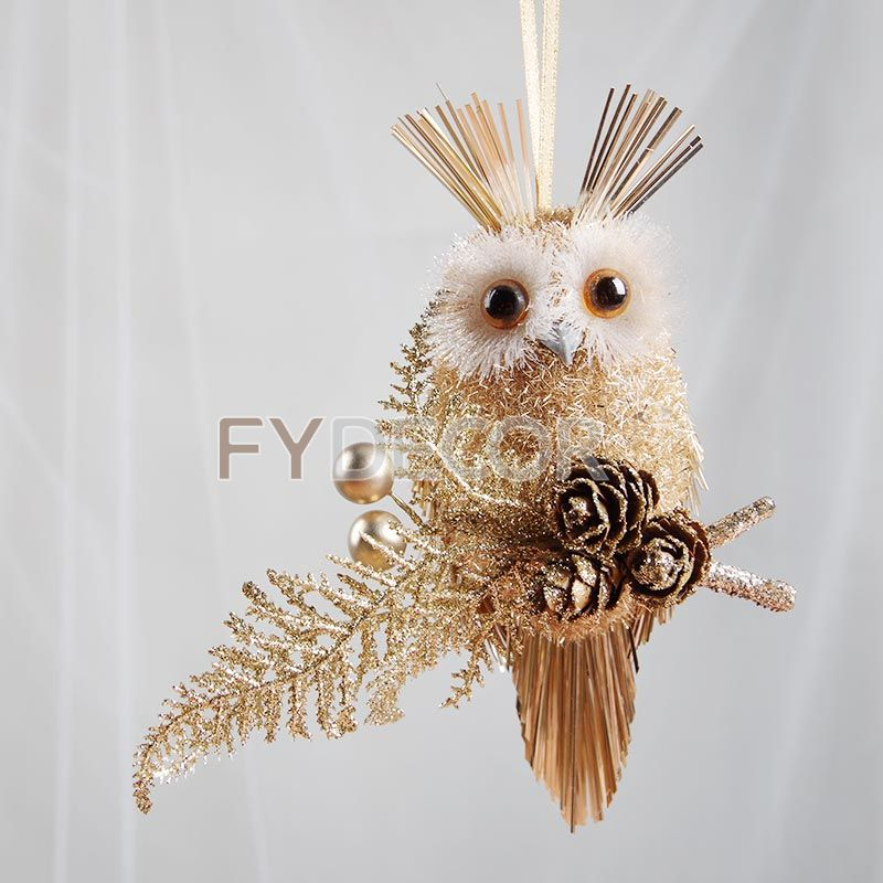 3 inches Owl Handmade New Year Decorations Christmas Tree Pendant Drop Ornaments glittering Bird with Pine Cones Home Decors