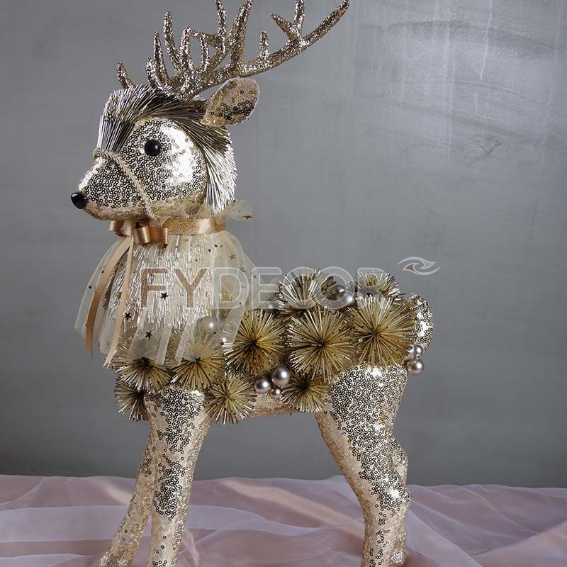 PET glittering reindeer ornaments handicrafts for Xmas/Festive/Christmas decoration or festive present