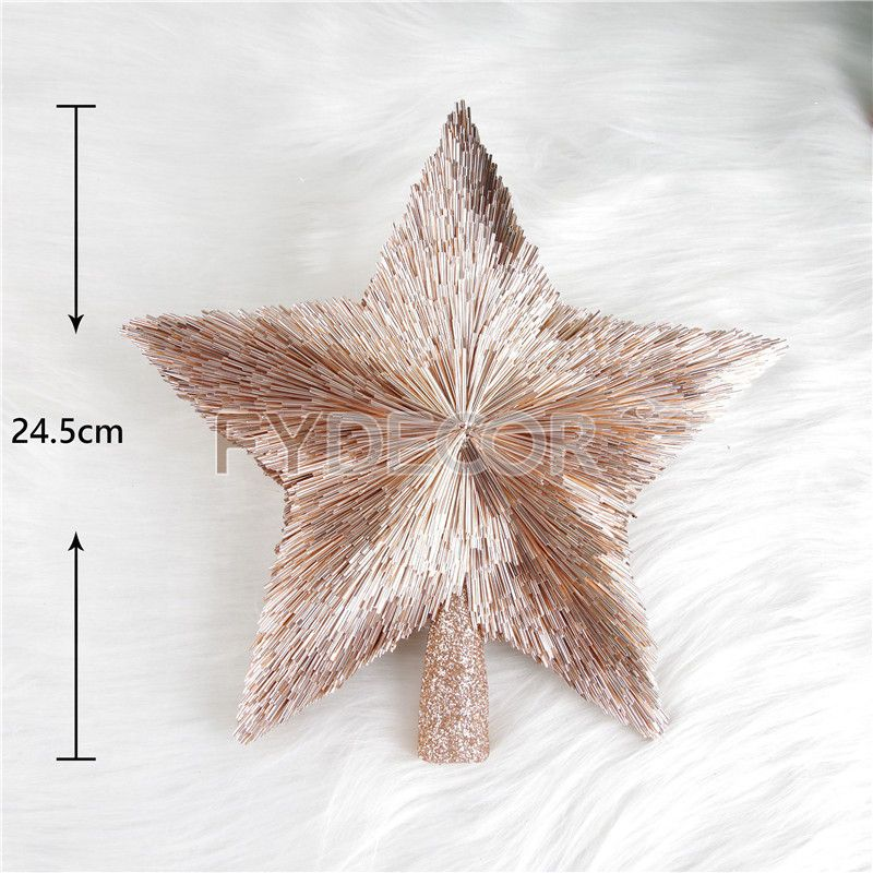 Christmas star treetop, rose gold star ornament for Christmas tree decoration.