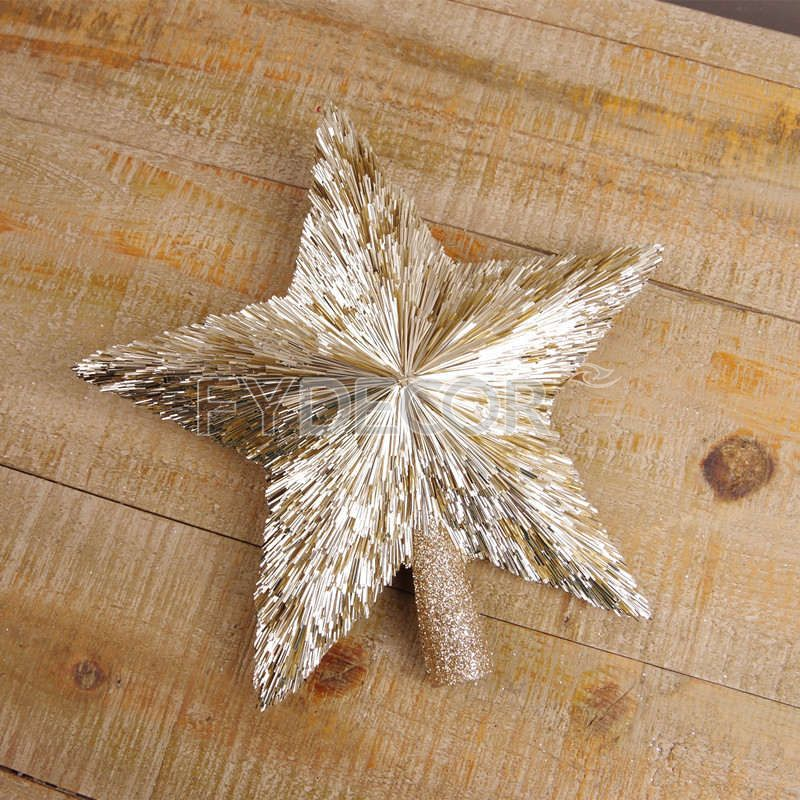 Christmas star treetop, Champagne gold star ornament for Christmas tree decoration.